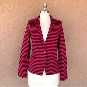 Lucky Brand Red and Navy Striped Blazer Jacket